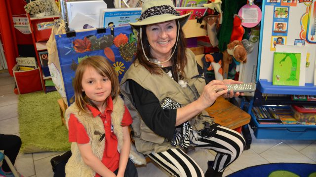 Teacher and student dressed in safari clothes