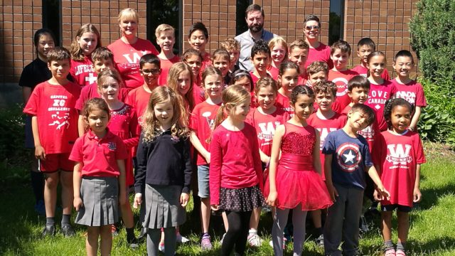 Group of students wearing red colours
