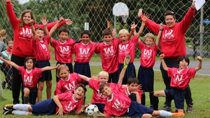 Soccer team celebrating a win